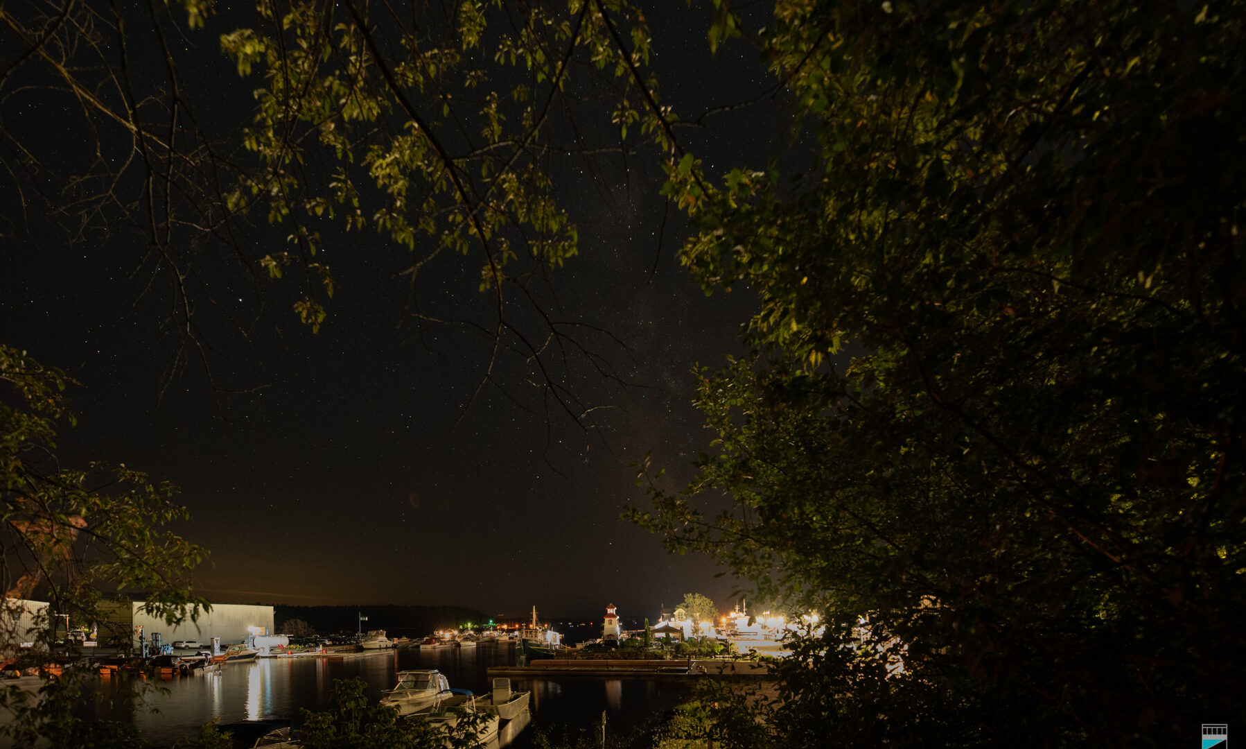 Parry Sound waterfront at night