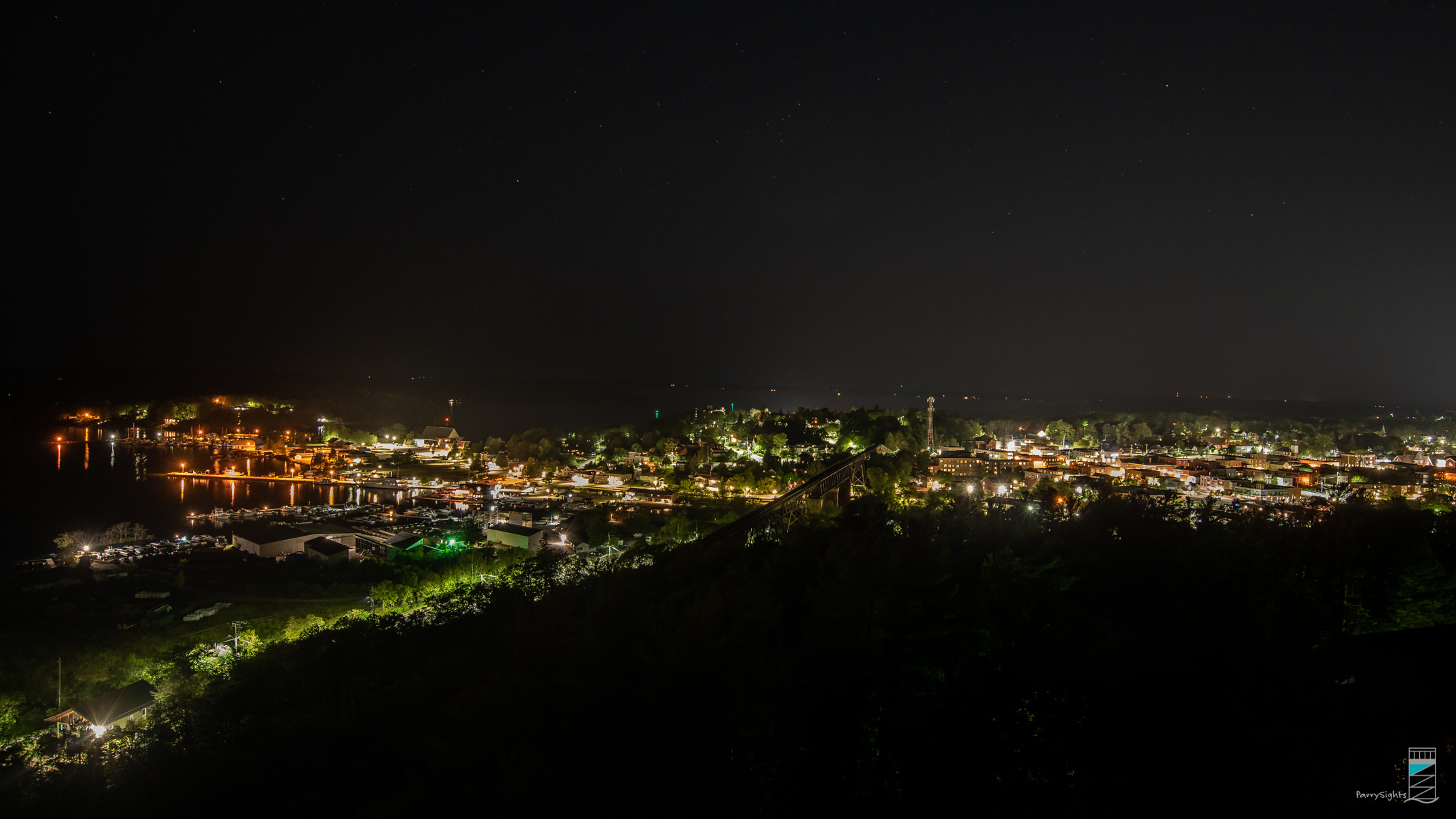Town of Parry Sound seen from atop Tower Hill